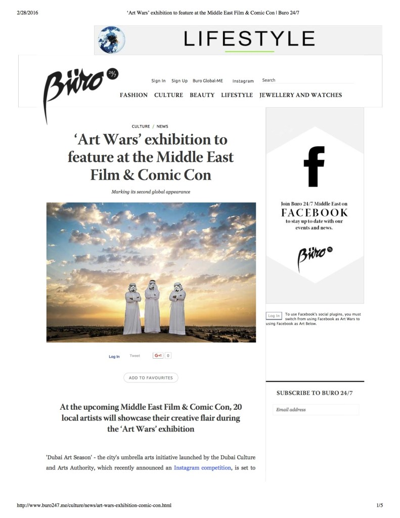 'Art Wars' exhibition to feature at the Middle East Film & Comic Con | Buro 24-7